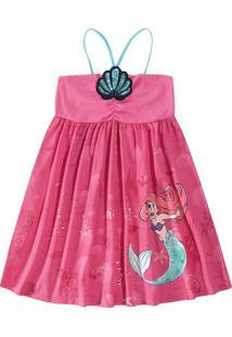 Vestido A Pequena Sereia® Com Bordado Menina Malwee Kids