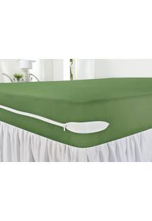 Capa Protetora De Colchão Queen Revest Verde Com 1 Peças Em Algodão - Ione Enxovais