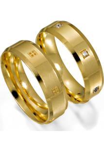 Aliança De Ouro Noivado Anatômica E Chanfrada - As0903 + As0904
