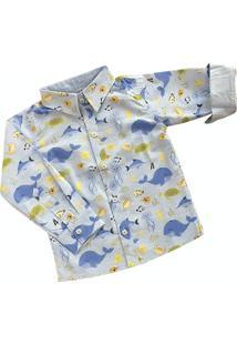 Camisa Fundo Do Mar Manga Longa Infantil Azul Claro