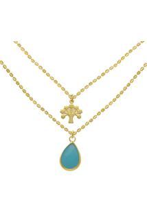 Gargantilha Prata Mil Dupla ÁRvore Da Vida E Gota Azul Dourado - Dourado - Feminino - Dafiti