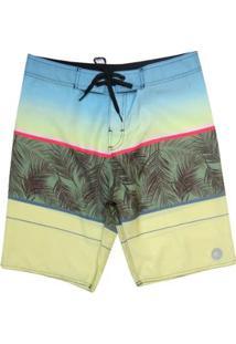 Bermuda Boardshort Wss Waves Palm Color 20 Masculina - Masculino-Amarelo+Azul