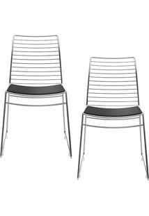 Kit Com 2 Cadeiras Nicole Cromada Couríssimo Preto - Carraro