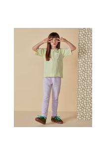 Amaro Feminino Camiseta Infantil Regular Bolso, Verde Claro