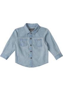 Camisa Jeans Bebê Tigor T. Tigre Masculina - Masculino-Azul