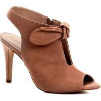 e80aee6383 Sandália Couro Shoestock Salto Fino Laço Feminina - Feminino-Nude