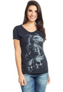 Camiseta Feminina Básica Estampada Bossa - Águia - Feminino-Preto