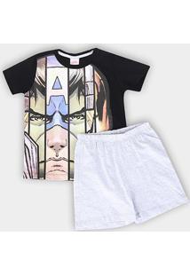Pijama Infantil Evanilda Avengers Masculino - Masculino-Preto