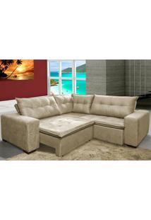 Sofa De Canto Retrátil E Reclinável Com Molas Cama Inbox Oklahoma 2,60M X 2,60M Suede Velusoft Bege