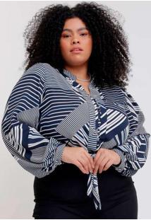 Camisa Cropped Almaria Plus Size Pianeta Estampada
