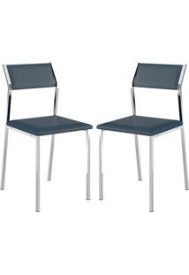 Cadeira 1709 Cromada 02 Unidades Azul Noturno Carraro