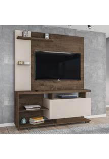 Estante Para Tv Até 55 Polegadas Viena 1 Porta Mocaccino Rústico/Natura Off White - Atualle Móveis