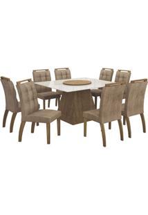 Mesa De Jantar Grécia Prato Giratório 140Cm Com 8 Cadeiras Ypê / Animale Capuccino
