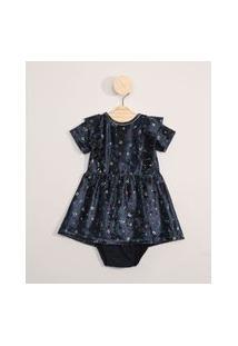 Vestido De Veludo Infantil Manga Curta Estampado Floral + Calcinha Azul Marinho