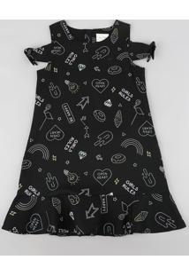Vestido Infantil Open Shoulder Estampado Com Babados Preto