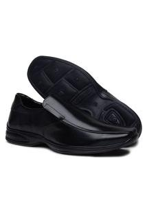 Sapato Social Masculino Conforto De Elástico Preto Calce Fácil