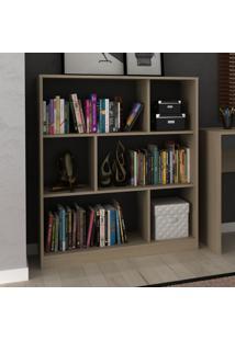 Estante Para Livros 2 Prateleiras Com Nichos Ho-2923 Avelã/Onix - Hecol
