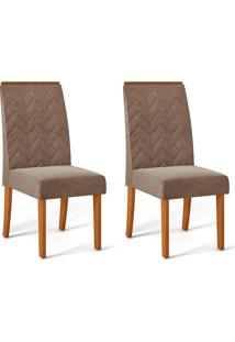 Conjunto Com 2 Cadeiras De Jantar Laura Telha E Marrom