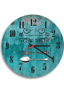 Relógio De Parede Decorativo Talheres Verde Pátina Único
