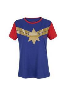 Camiseta Capitã Marvel Estrela - Feminina