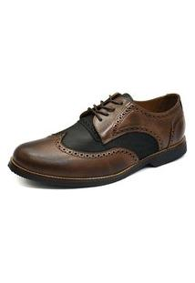 Sapato Social Oxford Shoes Grand 6810/4 Chocolate/Preto