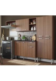 Cozinha Compacta Xangai 9 Portas Multimã³Veis Nogueira Marrom - Marrom - Dafiti