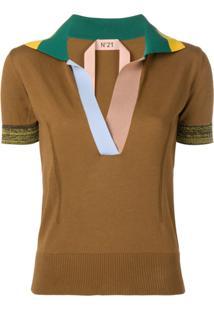 Nº21 Colourblock Knitted Polo Top - Marrom