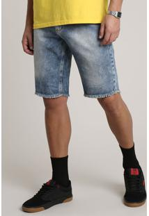 Bermuda Jeans Masculina Slim Com Barra Desfiada Azul Médio