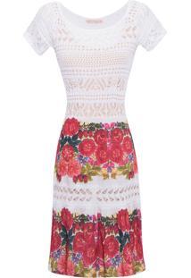 Vestido Floral Recortes Tricô