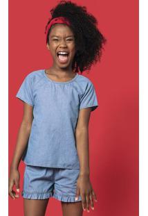 Conjunto Jeans Infantil Menina Com Blusa E Shorts Hering Kids
