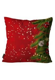 Capa Para Almofada Premium Cetim Mdecore Natal Arvore De Natal Vermelha 45X45Cm
