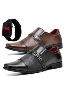 2 Pares Sapato Social Fashion Com Relógio Led Dubuy 821El Preto