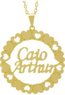 Gargantilha Horus Import Pingente Manuscrito Caio Arthur Banho Ouro Amarelo