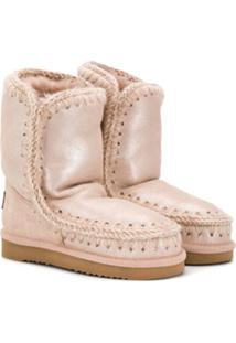 Mou Kids Stitch Details Lined Boots - Rosa