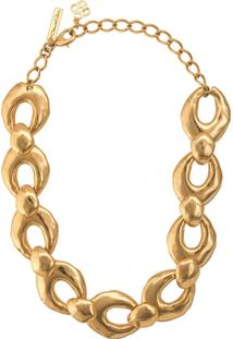 Oscar De La Renta Hammered Link Necklace - Dourado