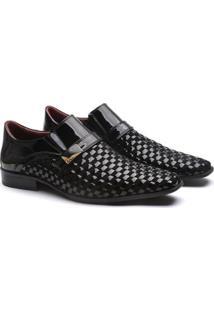 Sapato Social Couro Gofer Verniz Tresse Masculino - Masculino-Preto