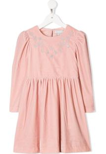 Stella Mccartney Kids Vestido De Veludo Bordado - Rosa