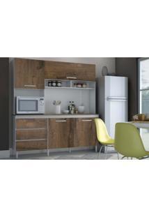 Cozinha Compacta 04 Portas Florença Branco/Malbec - Mpdecor