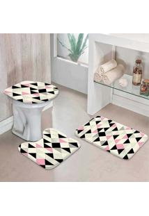 Jogo Tapetes Para Banheiro Multi Triângulos Rosa