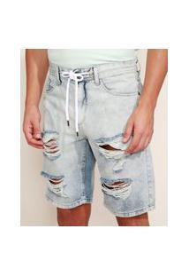 Bermuda Jeans Masculina Relaxed Destroyed Com Cordão Azul Claro