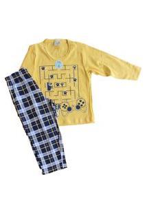 Pijama Manga Longa Bebê Masculino Lua Encantada 0005 Amarelo