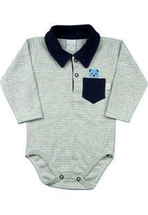 Body Bebê Suedine Ano Zero Listrado Com Golinha Ursinho Azul