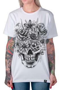 255a46561 Camiseta Caveira Com Flores Artseries Feminina - Feminino-Branco