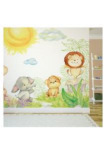 Papel De Parede Painel Infantil Animais Safari 4 Rolos 6M²