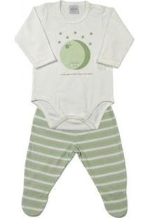Pijama Bebê Cotton Listrado Ninare Lua Masculino - Masculino-Verde