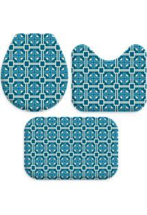 Jogo Tapate Love Decors Para Banheiro Quadrados Azul Único
