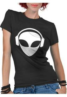 Camiseta Criativa Urbana Et Dj Alien - Feminino-Preto