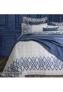 Sultan Conjunto De Cobre-Leito King Size Branco & Azul 3Pã§S 300 Fios