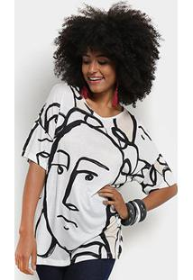 Camiseta Cantão Estampa Espelho Feminina - Feminino