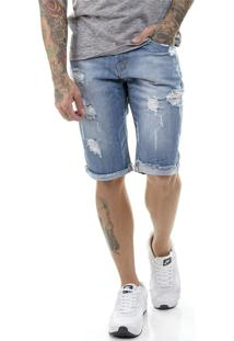 Bermuda Offert Jeans Premium Destroyed Slim Fit Azul